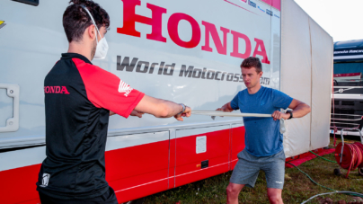 Team Honda Racing Assomotor Physiotherapist in action